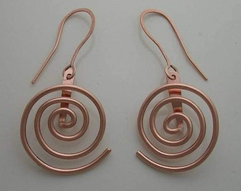 Pure Copper Faraday Spiral Earrings