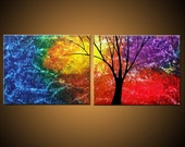 Beautiful Sound -- Ships Immediately -- Upscale Modern Fine Art -- Blue Red Purple Yellow Green Double Rainbow Tree Painting -- Free Shipping within Canada and to US