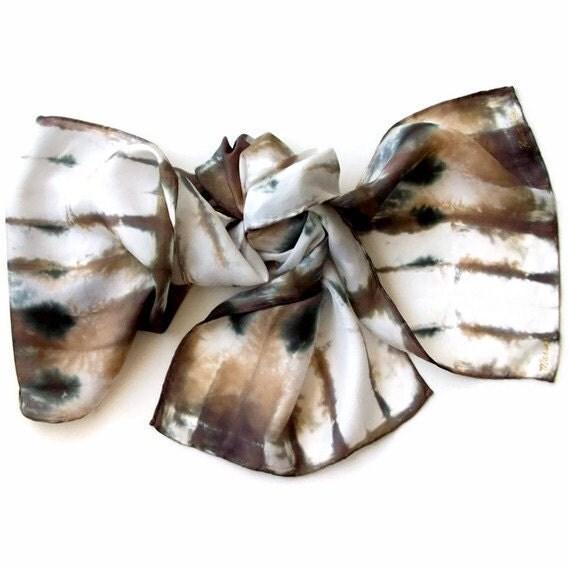 Vanilla Khaki Stripe Hand Dyed Silk Scarf