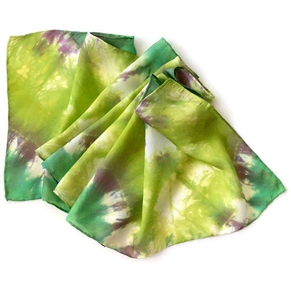 Hand Dyed Silk Scarf in Sunshine Green with Purple