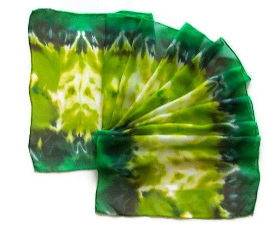 Hand Dyed Silk Scarf in Chartreuse Green