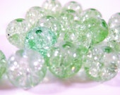Green Crackle Glass Beads