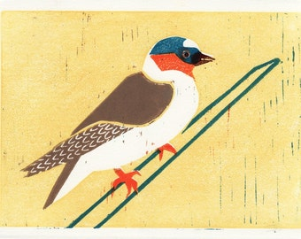 CLIFF SWALLOW - Original Hand-Carved Linocut Illustration Art Print 5 x 7, Yellow, Orange, Brown, Wall Decor