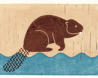 BEAVER - Original Hand-Pulled Linocut Block Art Print, Brown, Blue, Wall Decor