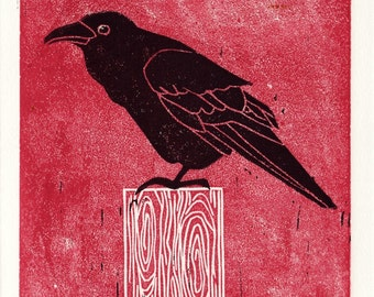COMMON RAVEN - Original Hand-Pulled Linocut Illustration Art Print 5 x 7, Black And Red Room Decor