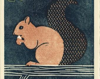 SQUIRREL - Original Linocut 5 x 7 Wood Block Art Illustration Print, Brown, Woodland, Wall Decor