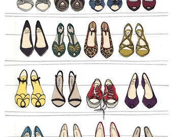 Designer Dream SHOE CLOSET Oversized Archival Fashion Illustration Print: 12 x 16
