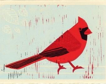 CARDINAL - Original Hand-Carved Linocut Illustration Art Print 5 x7, Red, Bird, Nature