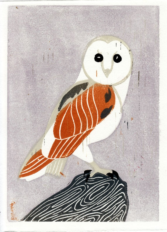 BARN OWL - Original Hand-Pulled Linocut Art Illustration Block Print 5 x 7, Mustard, Lavender, Lilac, Grey, Nature, Wall Decor