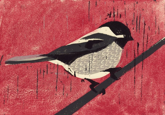 BLACK CAPPED CHICKADEE - Original Hand-Pulled Hand Carved Linocut Art Oil Paint Print 5 x 7, Christmas, Red, Grey, Black