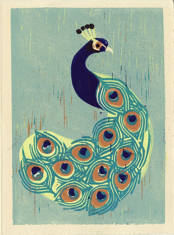 INDIAN PEACOCK -  Original Colorful Hand-Pulled Linocut Illustration Art Print For Room and Wall Decor, Blue, Green, Aqua, 5 x 7