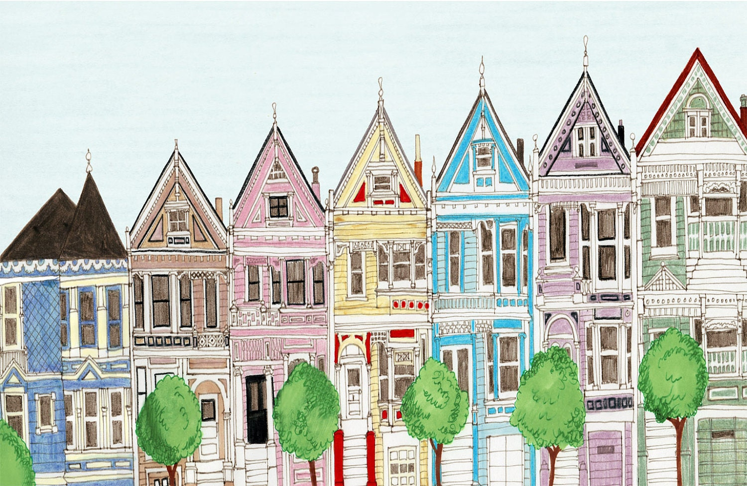San Francisco Victorian Colorful Houses Painted Ladies By
