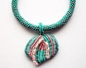 Turquoise Necklace Mixed Media Pendant on Beaded Herringbone Piece and Leather Cord