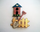 Iron on Applique Garden with Birdhouse Fence and Shovel