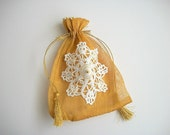 Gift Pouch Golden Heavy Organza Drawstring Bag with Crochet Little Doily and Beads One of a Kind