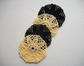Four Crochet Coasters or Little Doilies Black and Yellow Cotton Flower Motif