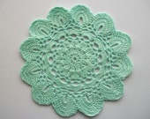 Mint Crochet Doily with Scalloped Edge