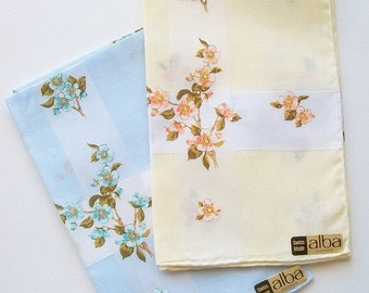 Handkerchief Set Hand Printed Flowers Vintage Unused