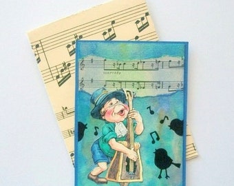 ACEO Original Mixed Media Laaf Making Music One of a Kind
