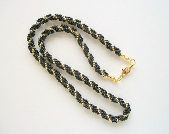 Choker Spiral Beadwoven Necklace Black and Golden Seed Beads