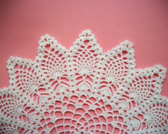 White Crochet Doily with Pineapple Pattern Heirloom Quality