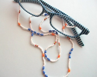 Eyeglass Lanyard Beaded White Spectacle Holder