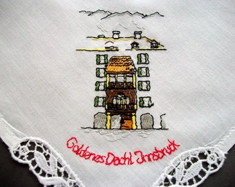Handkerchief Goldenes Dach Innsbruck Hand Embroidered Batist Hanky Vintage Unused