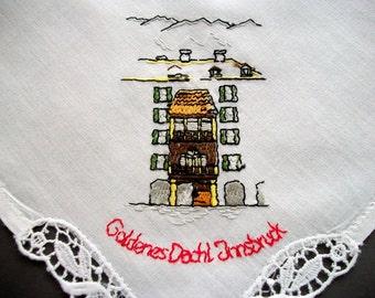 Handkerchief Goldenes Dach Innsbruck Hand Embroidered Batist Hanky Vintage Unused