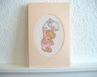 Teddy Bear Card or Nursery Wall Hanging Hand Embroidery Heirloom Quality