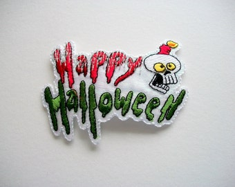 Iron on Applique Happy Halloween, Shimmering with scary Skull