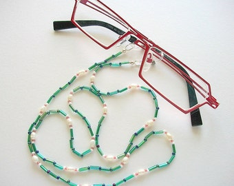 Green Eyeglass Lanyard Beaded Necklace with White Freshwater Pearls