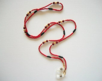 Red Eyeglass Necklace, Beaded Leash or Chain with Gold Plated Filigree beads