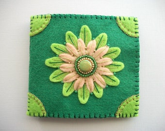 Needle Book Green Felt Organizer with Embroidered and Beaded Large Flower Handsewn