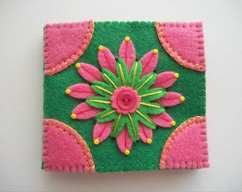 Needle Book Green Felt Cover with Pink Embroidered Flower Handsewn