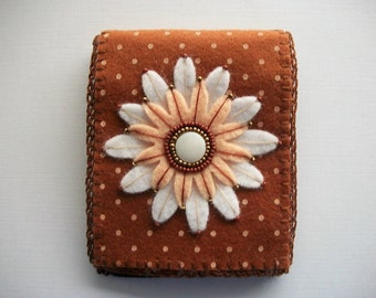 Needle Book Brown Felt with White Polka Dots and Large Embroidered Felt Flower Handsewn