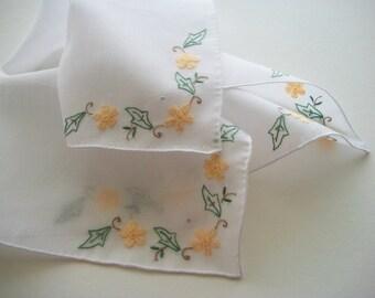 Bridal Handkerchief Fine Batist Hand Embroidered in Shadow Technique Heirloom Quality
