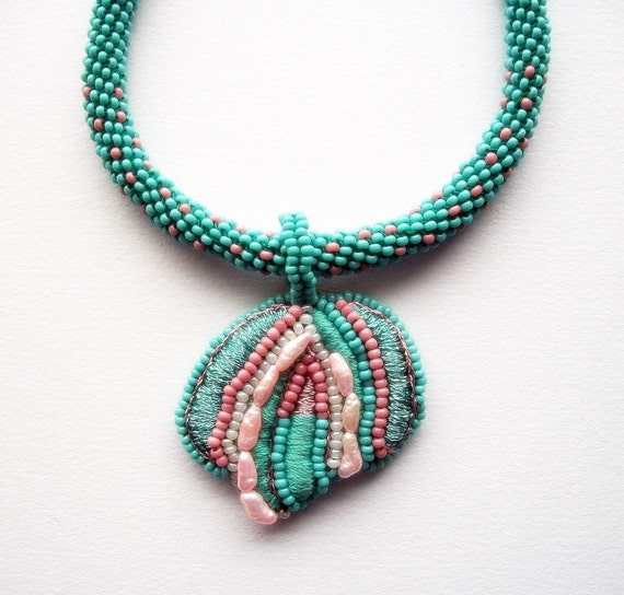 RESERVED LISTING Turquoise Necklace Mixed Media Pendant on Beaded Herringbone Piece and Leather Cord