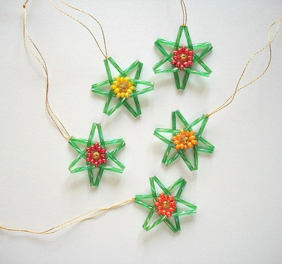 Star Ornaments Christmas Tree or Easter Hangings Hand Beaded 5 pcs
