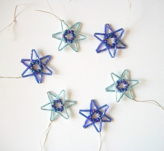 Blue Star Ornaments Hand Beaded 6 pieces