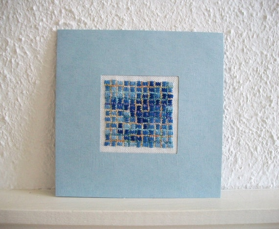 Mosaic Wall Hanging or Very Special Greeting Card Hand Embroidered