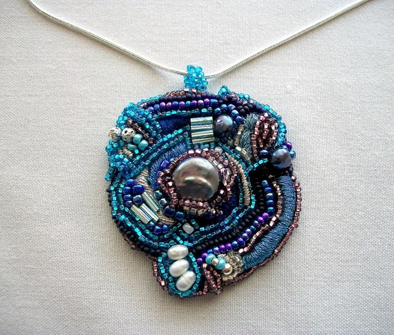 Beaded Blue Pendant on Silver Plated Snake Chain One of a Kind Mixed Media Piece