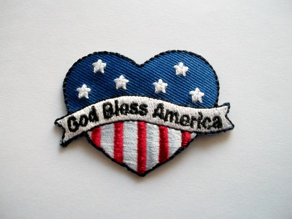Iron on Applique Patriotic Heart, God Bless America Patch