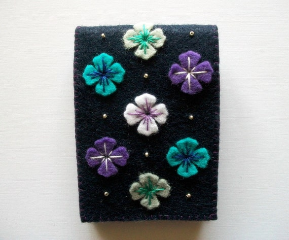 Needle Case Dark Blue Felt with Flowers Handsewn