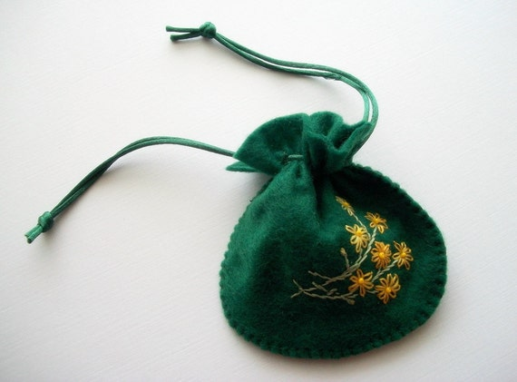 Gift Bag Green Felt Pouch Handsewn and Hand Embroidered