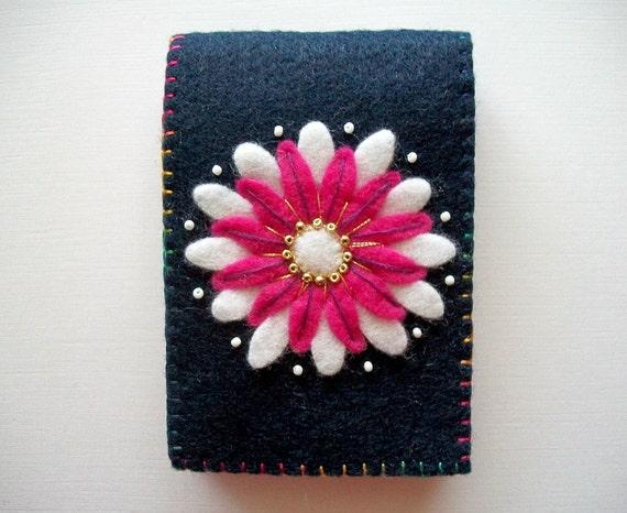 Needle Case Dark Blue Felt with Flower Handsewn