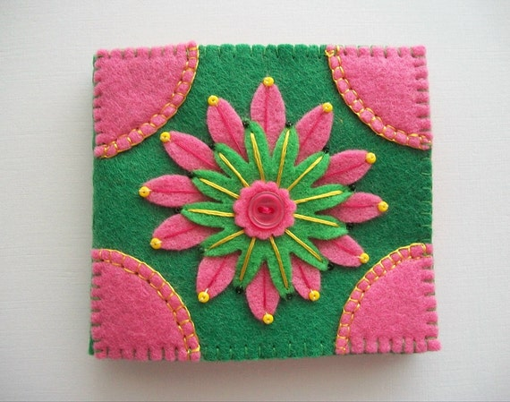 Needle book green felt cover with pink embroidered flower