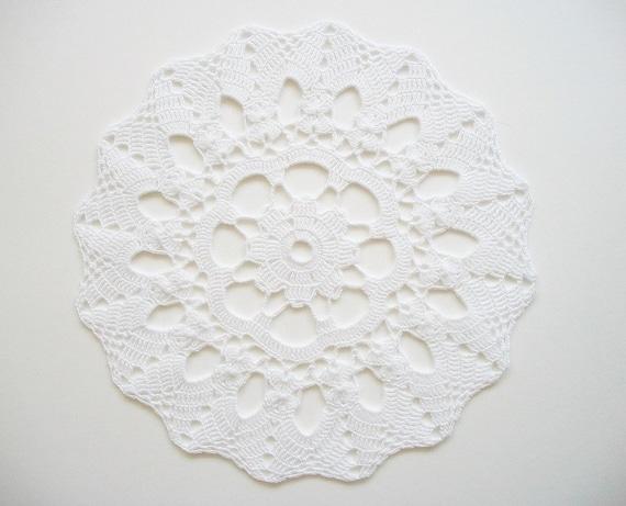 Crochet Doily White Cotton Centre Piece Heirloom Quality