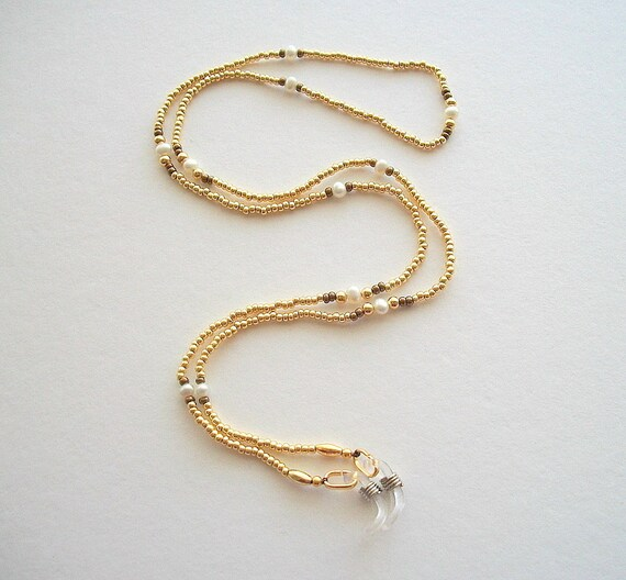 Golden Eyeglass Necklace Beaded Chain with Vintage Fresh Water Pearls