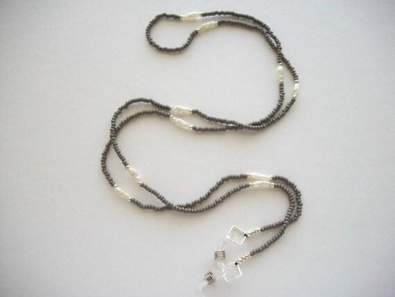 Grey Eyeglass Necklace Beaded Holder with Vintage Biwa Pearls