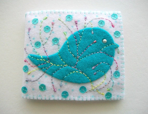 Needle Book White Felt with Turquoise Polka Dots and Folk Art Bird Hand Embroidery and Sequins